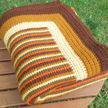 "Vintage crochet throw blanket afghan in brown mustard yellow tan beige - Fall autumn colors - Halloween home decor 55"" x 46"""