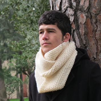 Knitted Infinity Men Scarf Block From Menaccessory On Etsy