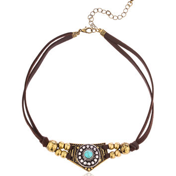 Brown Soft Leather Choker with Native American Style Pendant