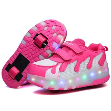 Glowing Roller Skate Shoes LED Double Wheel Roller Skates Shoes Invisible Pulley Roller Shoes Women Sneakers Zapatos Mujeres