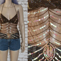 90s Halter Top Beaded Sheer Mesh Sequins Backless Tie Ethnic India Festival Boho Gypsy Hipster Hippie Grunge Y2K Brown Floral 70s XS S