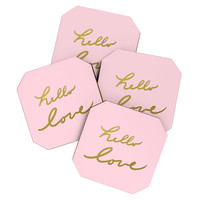 Lisa Argyropoulos hello love pink Coaster Set