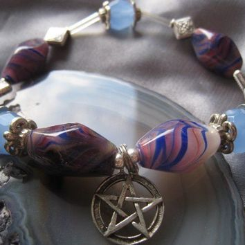 """Pentacle charm Bracelet (30)  6 3/4"""",  magickal, wiccan, witch, spiritual, Pagan Poetry Collection, unique visions by jen"""