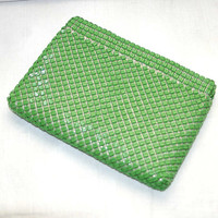 60s Lime Green Whiting and Davis Mesh Clutch Purse Mod