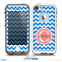 The Blue & White Chevron Monogram Name Script Skin Coral v1 Skin for the iPhone 5-5s Fre LifeProof Case