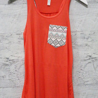 Luna Lake Aztec Front Pocket Coral Racerback Tank Top