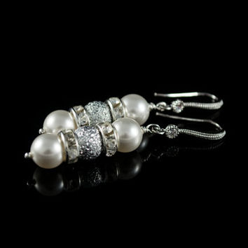 Pearl Earrings. White or Cream Swarovski Pearls, Rhinestones Spacer Beads. Wedding Jewelry, Bridesmaid Gift, Dainty, Feminine