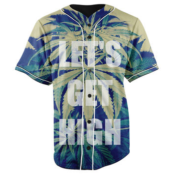 Lets Get High Button Up Baseball Jersey