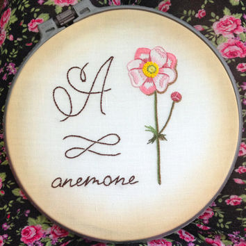 Hand embroidery patterns flowers embroidered letter A Anemon NaiveNeedle