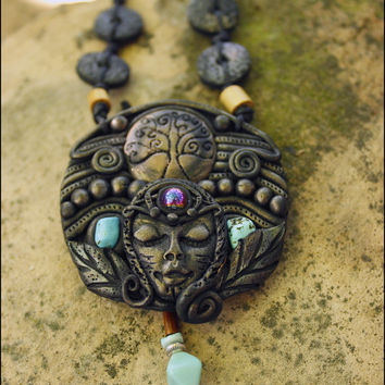 Tribal necklace, clay jewelry, boho necklace, tree of life, festival jewelry,warrior necklace, turquoise stone, warrior woman, gipsy pendant