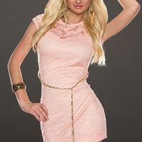 Pink Sleeveless Floral Lace Overlay Mini Bodycon Dress