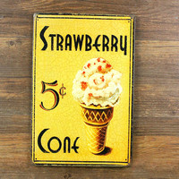 """SP-KF-50 Free ship about """" strawberry ice cream"""" retro vintage metal tin signs painting home decor poster wall art craft 20X30cm"""