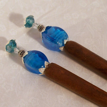 Blue Lampwork Bead Hair Sticks 1 pair by DesignsByDeb18 on Etsy
