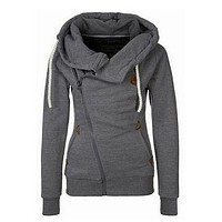 Women Gray Hoodie Zip Parka Trench Outwear Tracksuit Sweatshirt Jumper Pullover Lady Coat Jackets