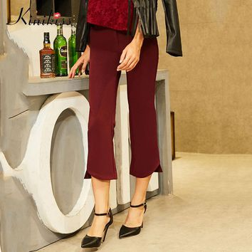 Kinikiss 2017 Women Pants Autumn Red Bell bottoms Flare Pants Casual OL Elegant  Long Trousers High Female Fashion Pants Winter