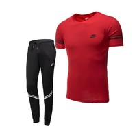 NIKE trend men's sports suit short-sleeved pants suit running fitness clothes two-piece Red