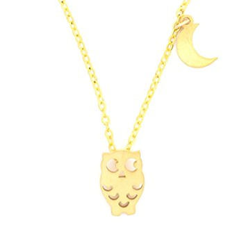 Owl and Crescent Moon Necklace Gold Tone NR40 Retro Bird Charm Pendant Fashion Jewelry