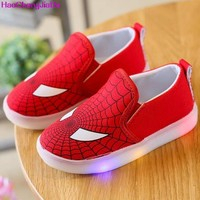 HaoChengJiaDe Children Lamp 2018 Spring Autumn New Canvas Shoes Soft Leisure Cartoon Boys Bright Leds Shoes Kids For Girls 046