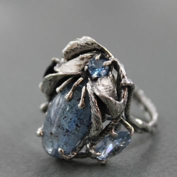 Ring Sterling Silver Huge Kyanite Two  light blue Topaz dark blue Sapphire