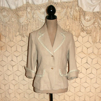 Romantic Shabby Boho Jacket Oatmeal Beige Linen Jacket Linen Blazer Jacket Lace Embellished Women Jacket Newport News Medium Womens Clothing