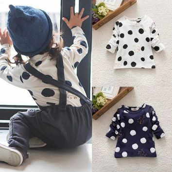 Kids 0-3Y Baby Girls Boys Unisex Polka Dots Long Sleeve Blouse Tops T-Shirt Cotton Basic Tees Clothing