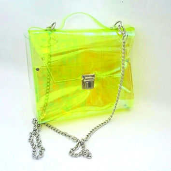 Crossbody bag Clear See Through Plastic PVC Vinyl holographic lemon lime neon yellow Transparent Bag,Crossbody Bag,Messenger Bag,Shoulder