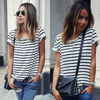 New Summer Women Tops O-Neck T-Shirt Short Sleeve Striped T Shirts Tees Blusas Femininas Free Shipping S M L XL Plus Size