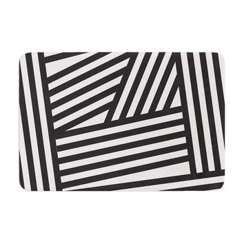 "Louise Machado ""Black Stripes"" Memory Foam Bath Mat"