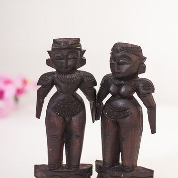 Wooden Fertility Sculptures, Vintage Hand Carved Wood Male & Female Sculptures Statues, Wooden Figure Sculptures of a Couple