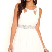 Short Homecoming Dress with Keyhole Neckline and Soft Circle Skirt