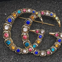 Gucci color diamonds faded brooch