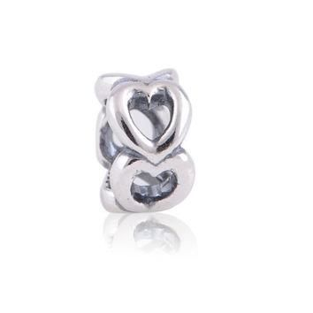Love beads heart set authentic S925 Sterling silver slide fits pandora style bracelet