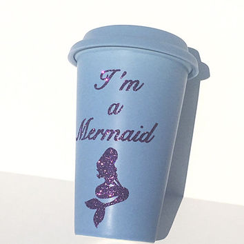 I'm a Mermaid Glitter Coffee Mug - To Go Coffee Cup - Travel Coffee Mug - Purple Glitter