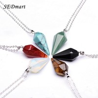 SEDmart Natural Gem Precious Stone Hexagon Pyramid Reiki Healing Pendant Necklace Charms Pendulum Chakra Amulet Pendant Necklace