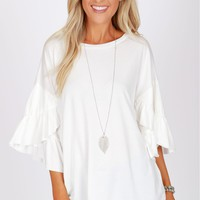 Floral Ruffle Sleeve Off White