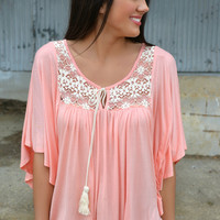 Peach Boho Top With Lace