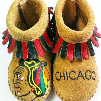 Custom Hand Painted Chicago Blackhawks Baby Moccasins