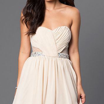 Short Strapless Cocktail Dress with Sheer Sides