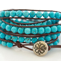 Turquoise Beaded Leather Wrap Bracelet Leather Wrap by Jewels2Luv