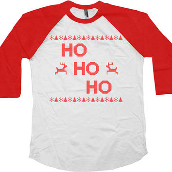 Funny Christmas Raglan Ho Ho Ho American Apparel Raglan Sleeves 3/4 Sleeve TShirt Baseball T Shirt Christmas Presents Xmas Gifts - SA413