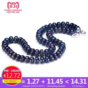 2018 Amazing New Real Black Pearl Jewelry Necklace For Women,Natural Freshwater Pearl Cute Love Shape Buckle,Fashion Jewelry