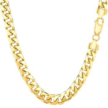 14k Yellow Solid Gold Miami Cuban Link Chain Mens Bracelet, 5.7mm, 8.5""