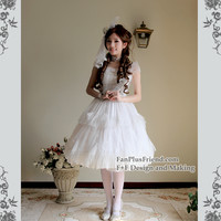 Chiffon Lover-Waltz, Classic Lolita Starlight Gauze 2pcs Knee Length Dress Set*2colors Instant Shipping