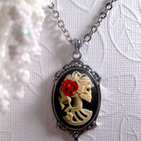 Red Rose Lolita Cameo Necklace Lady by FashionCrashJewelry on Etsy