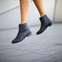 40% Sale, Sienna, Black Boots, Ankle Boots, Black Booties, Winter Shoes, Women Leather Boots, Black Flats,  Easter Gift For Her