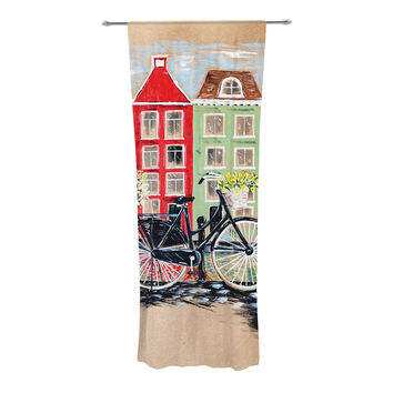 "Christen Treat ""Bicycle"" Decorative Sheer Curtain"