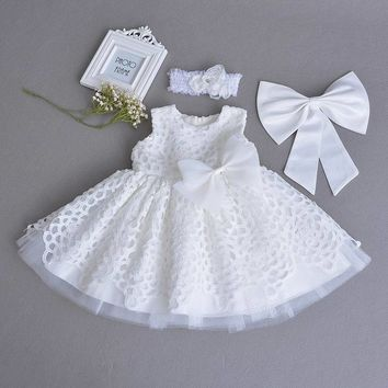 Retail Baby Girl Christening Gown Lace White Sleeveless First Birthday Day Party Dress Headband Kids Clothing 0-2Y E70106