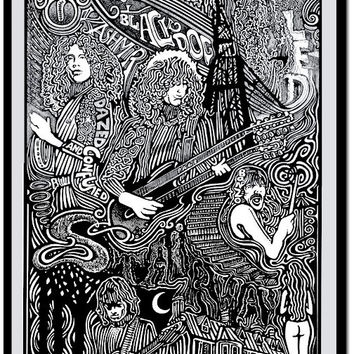 Led Zeppelin Stairway to Heaven Robert Plant, Jimmy Page, John Bonham, John Paul Jones Ink Art Print by Posterography