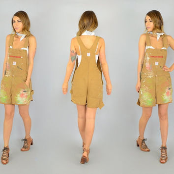70's PAINT SPLATTERED distressed 'Pointer Brand' zip cut-off OVERALLS, one size fits most