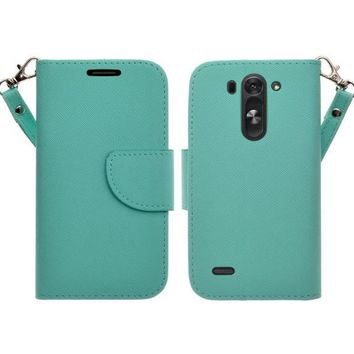 LG G3 s   LG G3 mini   LG G3 Beat   LG G3 Vigor   LG D725   LG D722 Case, Wrist Strap Flip Folio [Kickstand Feature] Pu Leather Wallet Case with ID & Credit Card Slots - Teal